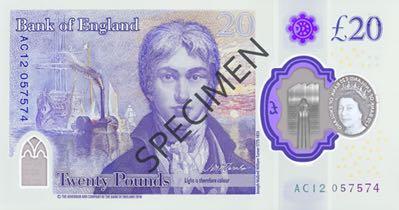 United Kingdom New 20 Pound Polymer