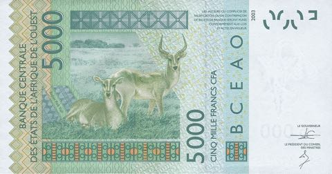 WEST AFRICAN STATES 5000 FRANCS 2016 SENEGAL  P 717 6RW 16GE XF-aUNC CONDITION