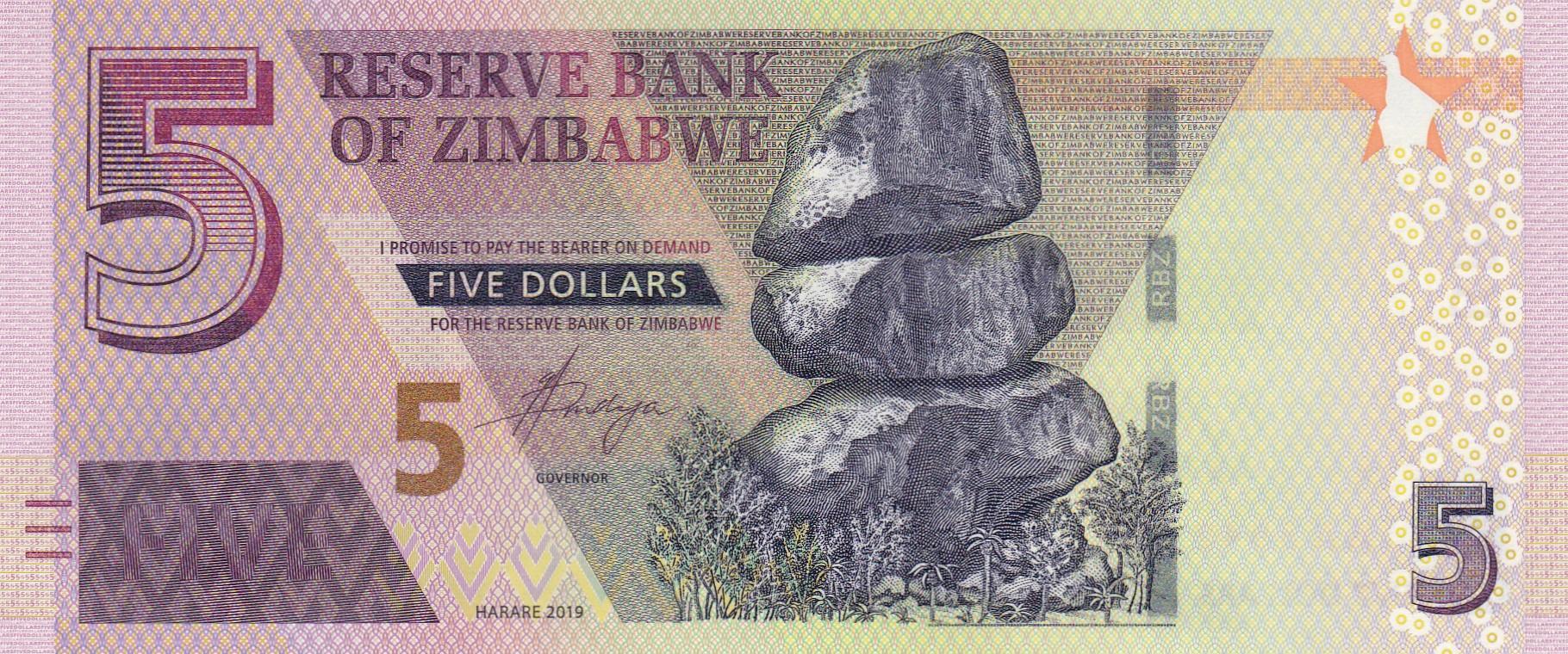 Zimbabwe New 5 Dollar Note B193a